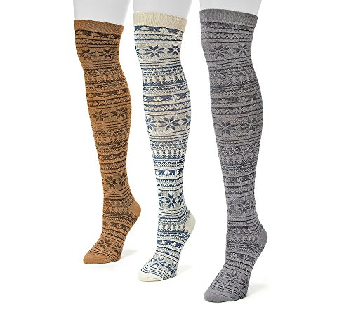Muk Luks Women's Over The Knee Floral Microfiber Socks, Multi, One Size (Pack of