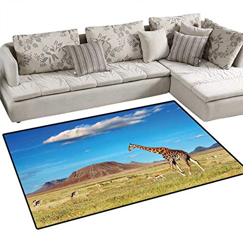 (Safari Decor Customize Door mats for Home Mat African Savanna with Giraffe and Grazing Antelopes Volcano Summer Sky Picture Door Mat Outside 36