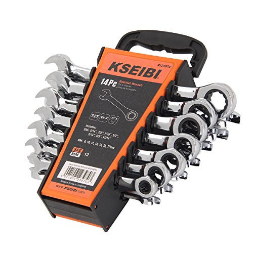 - KSEIBI 123970 14 Piece Ratcheting Combination Wrench Set - Chrome Vanadium Steel Ratchet Wrenches Kit with Storage Keeper SAE & Metric, 72-Tooth ratchet action - Auto Repair Hand Tools Set.