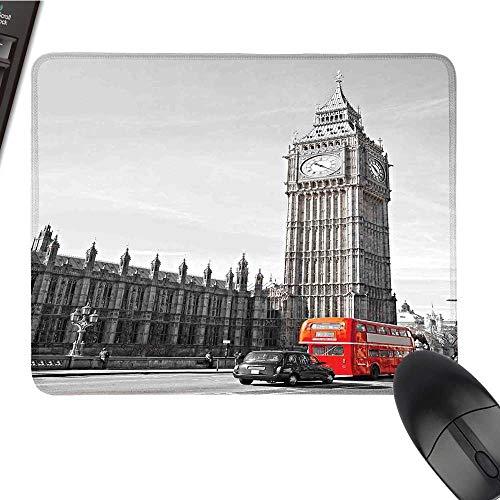 - LondonOffice Mouse PadBig Ben Tower Begining of Westminster Bridge with Black Cab and Red Bus ImageWaterproof Mice Pad 9.8