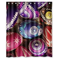 Special Design Colorful Easter Eggs Waterproof Bathroom Fabric Shower Curtain