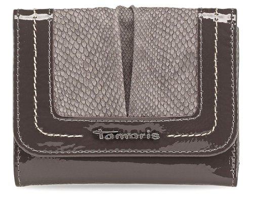 Tamaris Damen Brieftasche Geldbörse, NANCY, Reptilien-Look, 2 Farben: pepper-cafe braun lack oder graphite grau-schwarz lack Schwarz