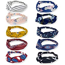 DRESHOW 10 Pack Boho Headbands for Women Vintage Flower Printed Criss Cross Elastic Head Wrap Twisted Cute Hair Accessories