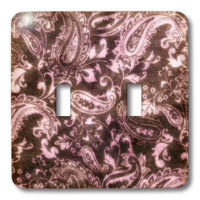 3dRose lsp/_62564/_2 Vintage Brown n Pink Damask Double Toggle Switch Multicolor
