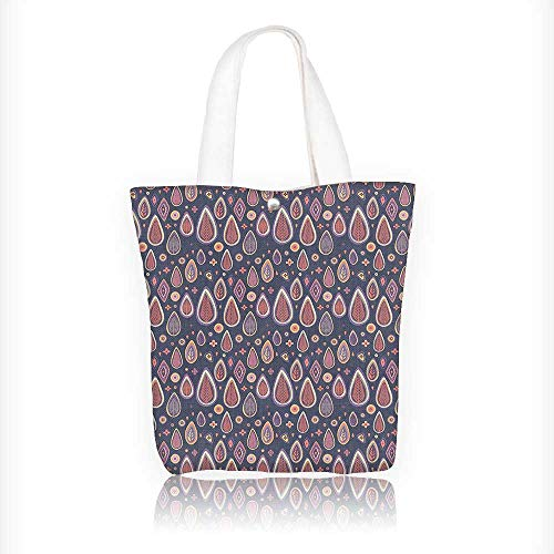 Canvas Zipper Tote Bag Printed Wooden Backdrops with Circles Shapes MauveTaupe Dried Rose Reusable Canvas Zipper Tote Bag Printed 100% Cotton W11xH11xD3 INCH -