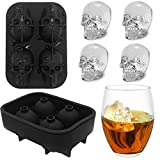 3D Skull Flexible Silicone Ice Cube Mold Tray, Makes Four Giant Skulls, Large Round Ice Cube Maker-Black