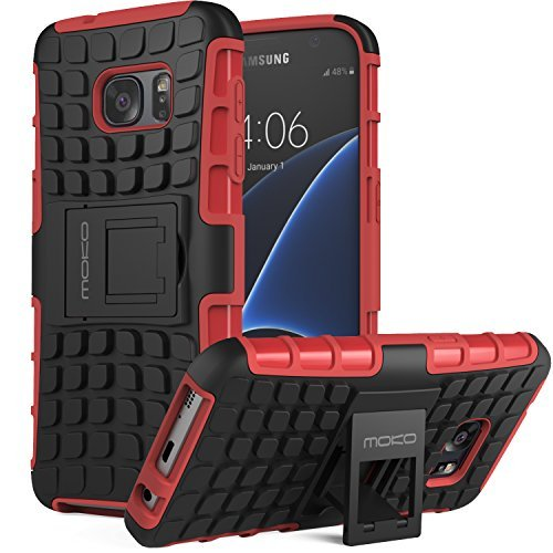 Sony Xperia Z5 Premium Hülle - MoKo [Kick Ständer Serie] Outdoor Dual Layer Holster Armor Case Handy Schutzhülle Schale Bumper mit Standfunktion für Smartphone Sony Xperia Z5 Premium 5.5 Zoll, Rot