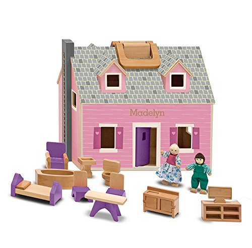 "Melissa & Doug Fold & Go Mini Dollhouse, Portable Wooden Dollhouse, Working Doors, Sturdy Carrying Handles, 10.4"" H × 11.9"" W × 16.7"" L"