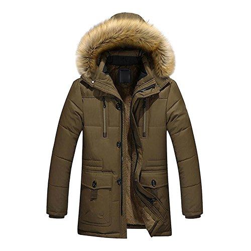 Men Hooded Coat Winter Jacket - Mxssi Outdoor Jacket with Fur Collar Jacket Warm Coat Parka Trench Coats Blazer Outerwear Black Khaki Green M-4XL Green
