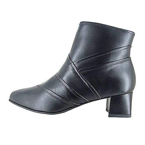 BeautiFeel Lady Black Calf Leather Dress Ankle Boot, Size 40 EU