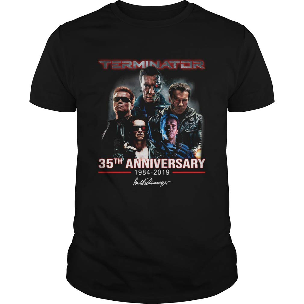 Short Sleeves Shirt Sweatshirt For Mens Womens Ladies Kids Terminator 35th Anniversary 19842019 Signature Shirt Unisex Hoodie