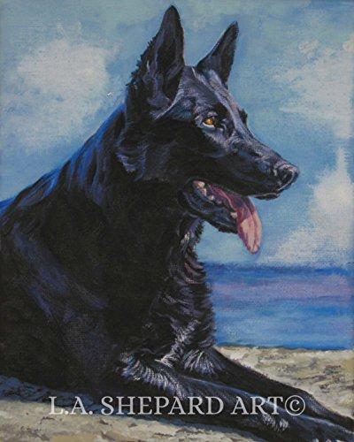 (A German Shepherd dog art portrait print of an LA Shepard painting 11x14
