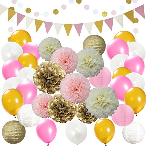 InBy Pink and Gold Party Decoration Kit Bridal Shower Baby Shower Wedding Birthday Bachelorette Party Supplies Set - Tissue Paper Pom Pom, Lantern, Latex Balloon, Triangle Banner, Circle Dot Garland -