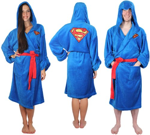 Superman Adult Blue Hooded Robe