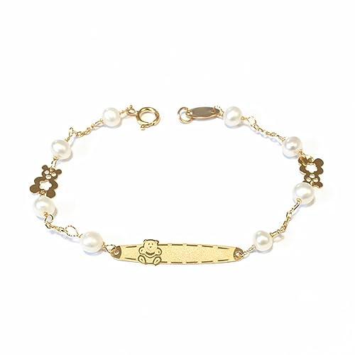 9b50a45066d6 Monde Petit G1215PU - Pulsera bebe Oro 18 Kts. chapa osito y perlas   Amazon.es  Joyería