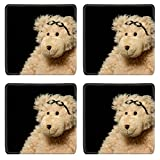 MSD Natural Rubber Square Coasters IMAGE ID: 4473433 Teddy bear in glasses close up portrait on black background offers