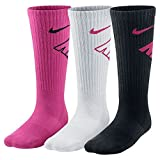 New Nike 3 Pack Boys' Graphic Cotton Cushioned Crew Socks Multi Color Youth Medium