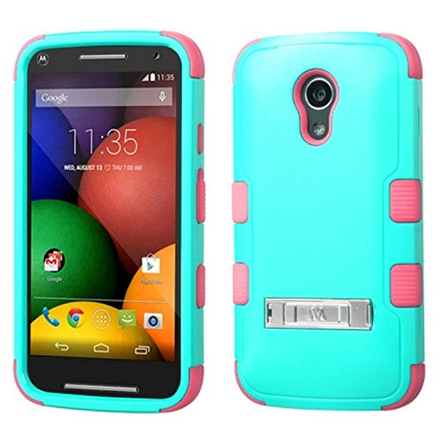 Asmyna TUFF Hybrid Phone Protector Cover (with Stand) for MOTOROLA XT1064-Moto G 2nd Gen - Retail Packaging - Natural Teal Green/Electric Pink