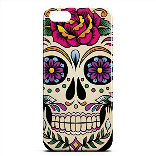 JIUYHG Personalize Case Compatible with iPhone 5/5s/SE Day of The Dead Sugar Skull with Rose Super Slim Back Cover Hard Plastic Protector Case Stylish Design for Apple iPhone 5S/5/SE 4 inch (Color) ()