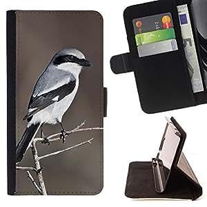 BullDog Case - FOR/Sony Xperia Z3 D6603 / - / grey feather pattern brown bird white /- Monedero de cuero de la PU Llevar cubierta de la caja con el ID Credit Card Slots Flip funda de cuer