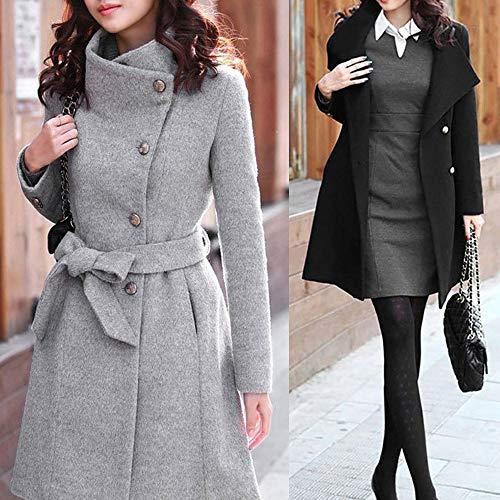 Synthétique Sanfashion Manteau Femme Col Jacket Trench Classique Coat Slim Revers En Laine Blousons Duffle Gris Élégant drr18txq