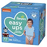 Pampers Easy Ups Diapers Size 6 (4T-5T), Pull On Disposable Training Diaper for Boys, SUPER PACK, 56 Count