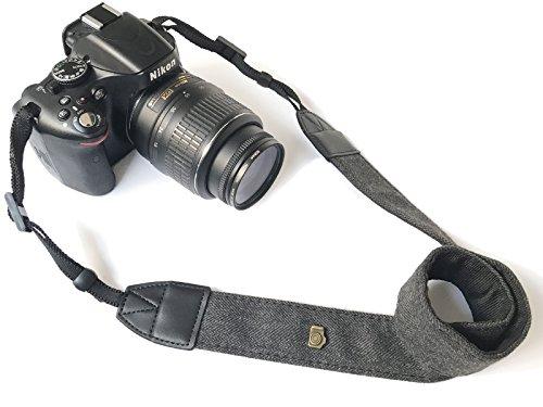 Camera Neck Shoulder Belt Strap,Alled Leather Vintage Print Soft Camera Straps for Women/Men for DSLR/SLR/Nikon/Canon/Sony/Olympus/Samsung/Pentax (Soft Black New)