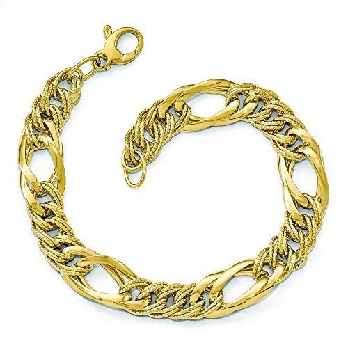 14 carats fantaisie de taille diamant poli Bracelet lien-JewelryWeb - 7,5 cm