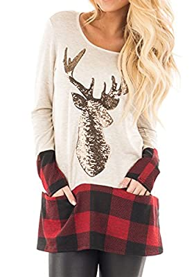 Nailyhome Women's Plaid-Accent Long-Sleeve Tunic Sweater Christmas Deer Shirt Lightweight Sweatshirt Tops