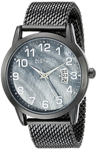 August Steiner Men's AS8195BK Black Quartz Watch with Gray Dial and Black Mesh Bracelet