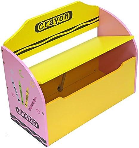 Kiddi Style Caja Juguetes y Banco para Niños - Madera -Diseño de ceras de colores: Amazon.es: Bebé