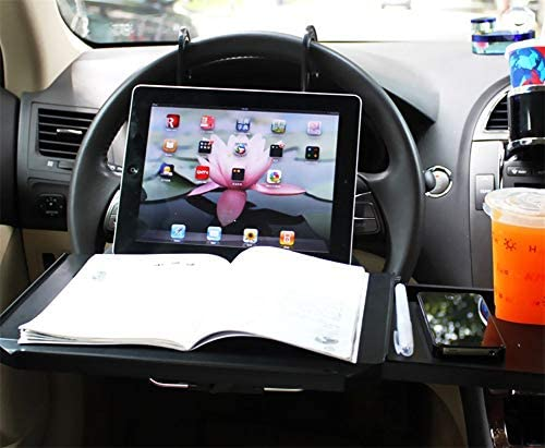 Zooenie Car Multifunctional Table Steering Wheel Desk Table Car Organiser Laptop Tray Multifunction Car Drink Holder Dining Table For Laptop Drink Food Notebooks Auto