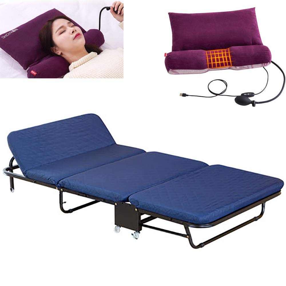 WSN Gästebett klappbar,Klappbett, mit Matratze Klappbares Gästebett mit Massagekissen Einzelbett für drinnen und draußen