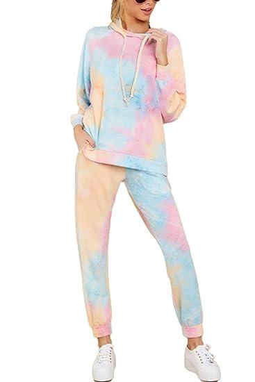 Cutiefox Womens Tie Dye Sweatsuit Pullover Shirts Drawstring Pants 2 Piece Outfit Loungewear
