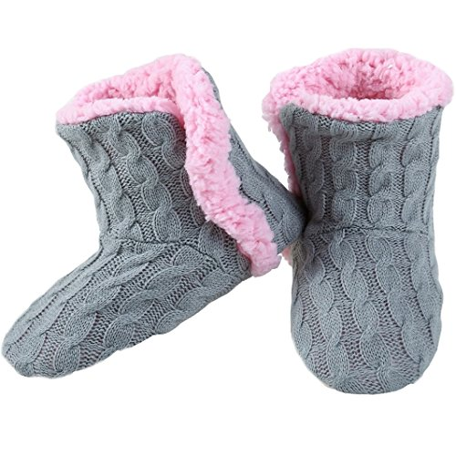 Yelete Womens Cable Knit Slippers House Booties Socks Soft Sherpa Lining Rubber Soles Gray t3wO3B