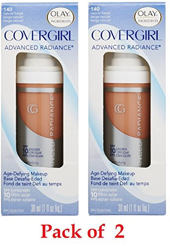 CoverGirl Advanced Radiance Age-Defying Makeup, Natural Beige [140], 1 oz (Pack of 2)
