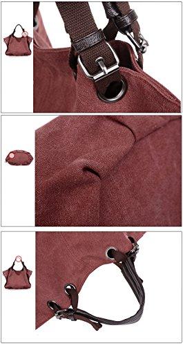 Hobo Large Women Handbag red Shopping Claret Bags Fashion Canvas ZiiPoR qYFRBF