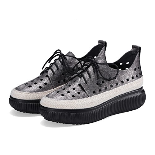 Leather Hollow Breathable Shoes Sports Shoes Platform up Shoes Thick GunColor Bottom Lace Women's Tad6xT