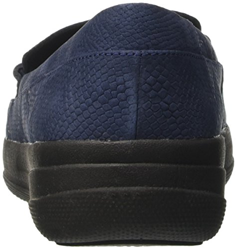 Fitflop Damen F-sportivo Penny Loafer Serpente Pantofola, Schwarz Blau (midnight Navy Serpente In Rilievo)
