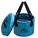 Collapsible Bucket 15L Portable Water Container Bucket Compact with Lid Wash Basin Collapsible , for Camping,Travel , Hiking, Fishing ,Boating and and Gardening 4.0 Gallon (Blue 15L)