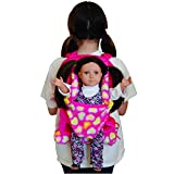 Pink Soft Plush Child Size Backpack with Built-in Doll Carrier and Sleeping Bag for 18 inch and 15 inch Dolls. Fits American Girl Doll. Storage for Doll Clothes and Accessories. Perfect for a Sleepover or Slumber Party.