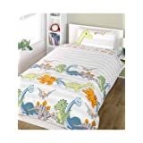 Dinosaurs Single Duvet Cover and Pillowcase Set - Natural by Unknown