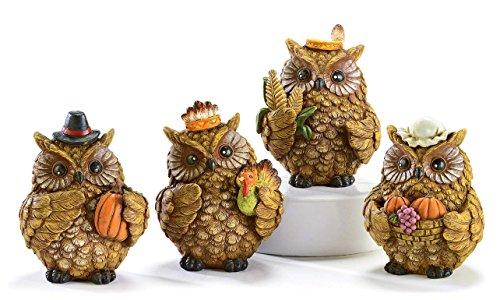 4 Pc Pilgrim & Indian Owl Figurines w/ Turkey & Pumpkins ()