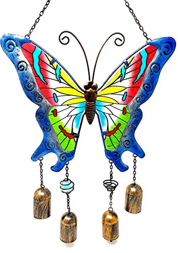 "Wind Chime Charm Butterfly Colorful Stained Glass Metal Indoor Outdoor 20"" x 11"" (Blue - Spring Top Break Songs"