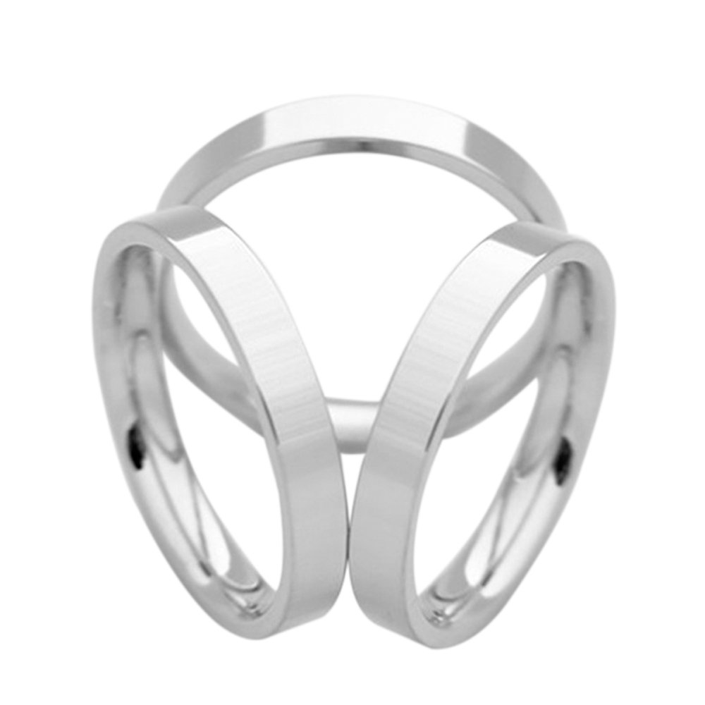 SHANLIHUA Simple Design 3 Rings Scarf Buckle Female Scarf Ring Silver Plated