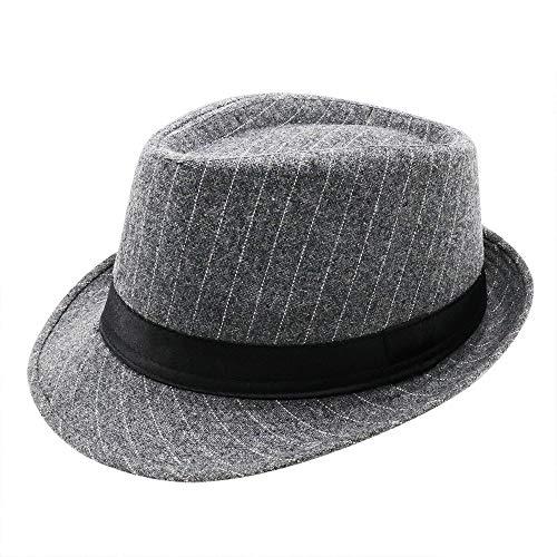 (PanPacSight Men' s Felt Trilby Cap Pinstripe Short Brim Woolen Fedora Crushable Cuban Spring Jazz Hat Gray)
