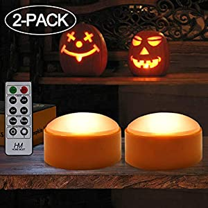 HOME MOST 2-PACK Halloween Pumpkin Lights with Remote / Timer – Orange Pumpkin Lights LED Battery Operated Halloween…