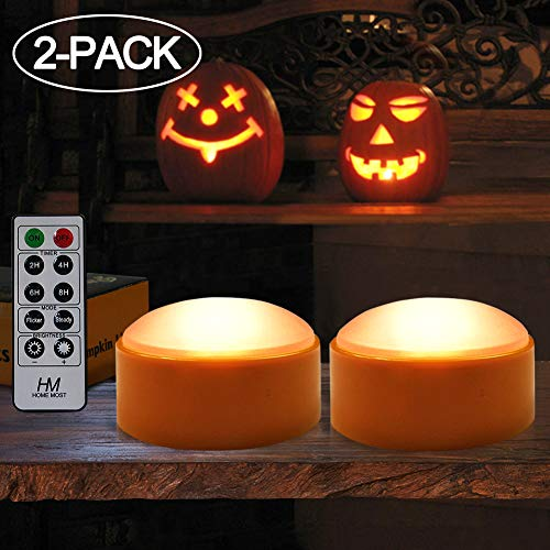 HOME MOST Halloween Pumpkin Lights with Remote and Timers - Orange Pumpkin Lights LED Battery Operated Halloween Decor - Halloween Jack-O-Lantern Outdoor Pumpkin Decorations - LED Lights Halloween