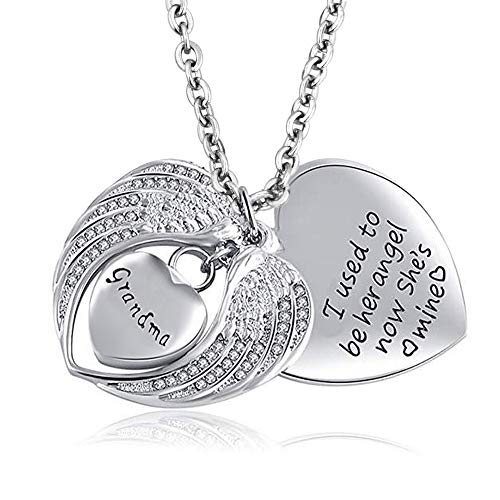 LuckyJewelry Angel Wing Urn Necklaces for Ashes Heart Cremation Memorial Keepsake Pendant (Grandma ()