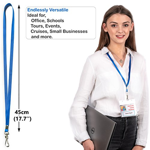 Durably Woven Lanyards ~Premium Quality, Smoothly Finished for Skin-Friendly Comfort~ for Moms, Teachers, Tours, Events, Businesses, Cruises & More (10 Pack, Blue) by Stationery King